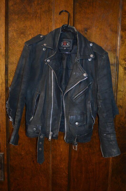 Punk rock thrashed leather jacket IK brand used size 32 vintage sid vicious
