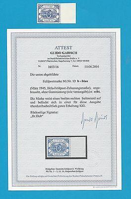 WKII Feldpost / U-Boot Hela   Nr. 13 b   Attest  Seitenrand  (*)   !!