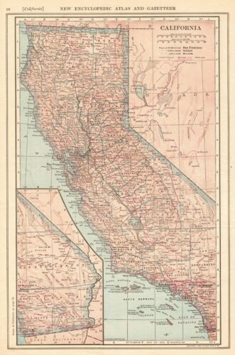 1907 Antique CALIFORNIA MAP Vintage State Map of California Wall Art 8071