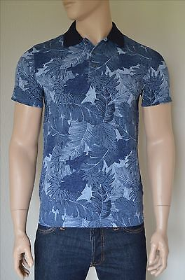 NEW Abercrombie & Fitch Classic Printed Polo Shirt Navy Blue Floral Pattern...