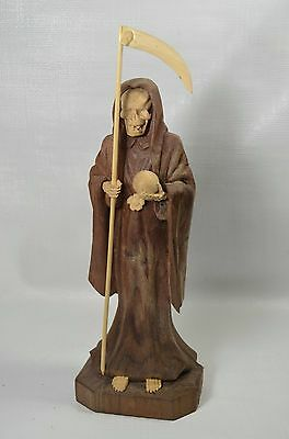 9 Inch hand wood carved  Statue of La Santa Muerte Holy Death Grim Reaper