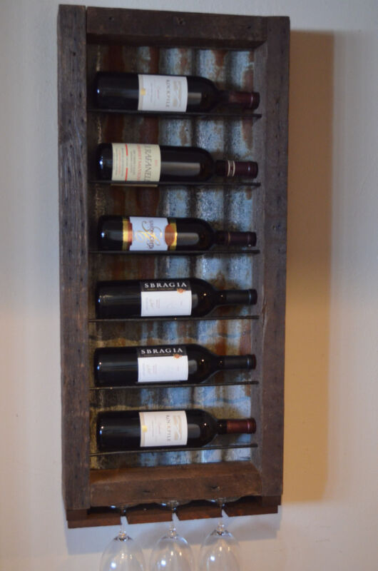 6 bottle Barn wood with Tin backing wine rack