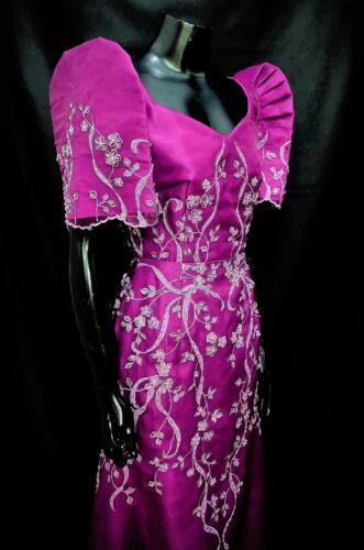 FILIPINIANA DRESS Embroidered and Beaded Maria Clara Mestiza Gown - Magenta