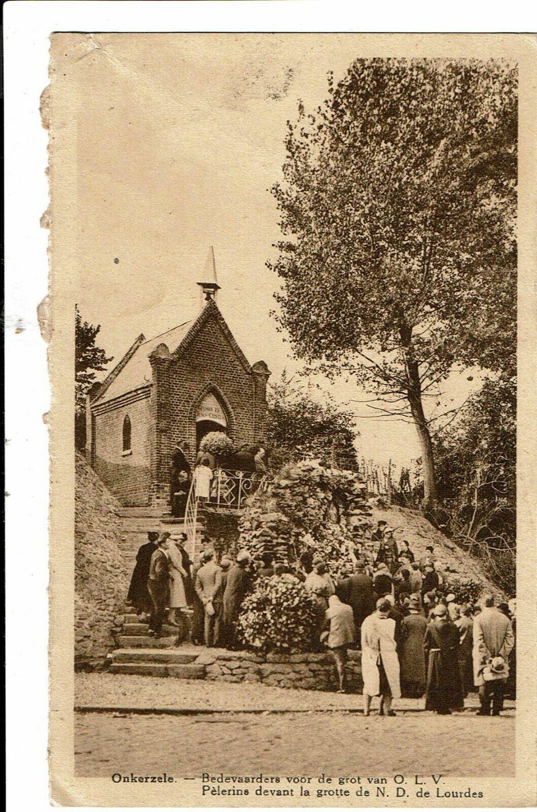 CPA-Carte postale -BELGIQUE-Onkerzele-Pèlerins devant la grotte de N..Dame