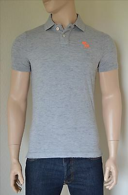 NEW Abercrombie & Fitch Classic Cotton Pique Moose Polo Shirt Light Grey...