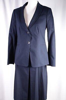 New Lavia Women's Skirt Suit Sz 46 Blazer 44 Skirt Career Italy Cotton Navy $806