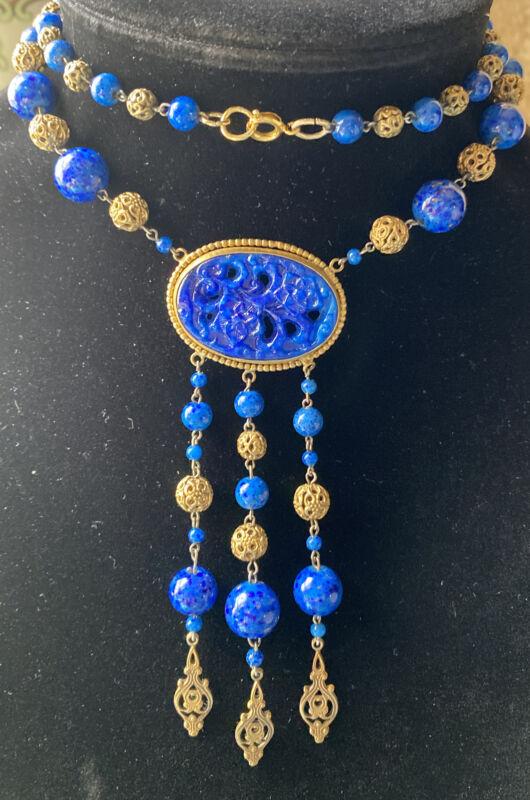 Vintage Art Deco Blue Molded & Peking Glass & Brass Filigree Necklace