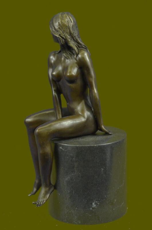 Beautiful Signed Art Nouveau Gilt Bronze Sculpture Figure Statue Naked Nude Girl