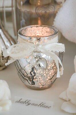 Clayre & Eef Windlicht Teelicht Bauernsilber mit Schleife Herz Shabby Vintage