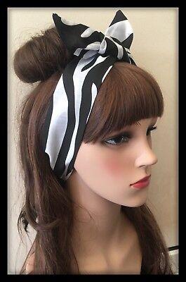 Zebra Headband Bandana Neck Scarf Hairband Hair Tie Band Animal Print Fabric Bow (Zebra Head Band)