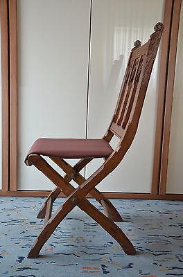 Antike Stuhl aus Eiche Klappstuhl mit neuen Sitzbezug