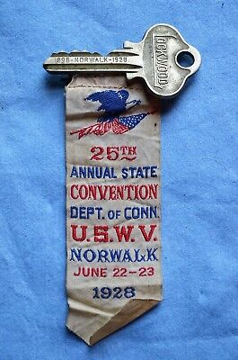 UNIQUE U.S.W.V. Badge with Key, 25th Annual State Convention, Dept.of Conn, 1928
