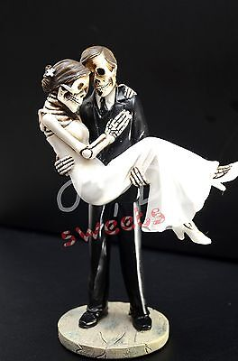 Wedding Skeleton Cake Topper-Groom Caring Bride-Halloween Party Supply-Figurine](Halloween Wedding Supplies)