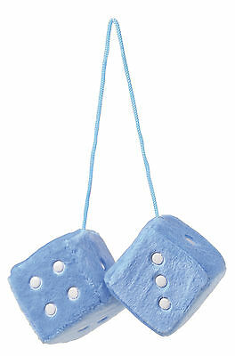 Sumex Blue & White Soft Fluffy Furry Car & Home Hanging Mirror Spotty Dice #30