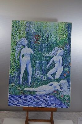ANTIQUE FRAME WOOD PAINTING ON CANVAS OIL SIGN NATURE WOMAN NAKED