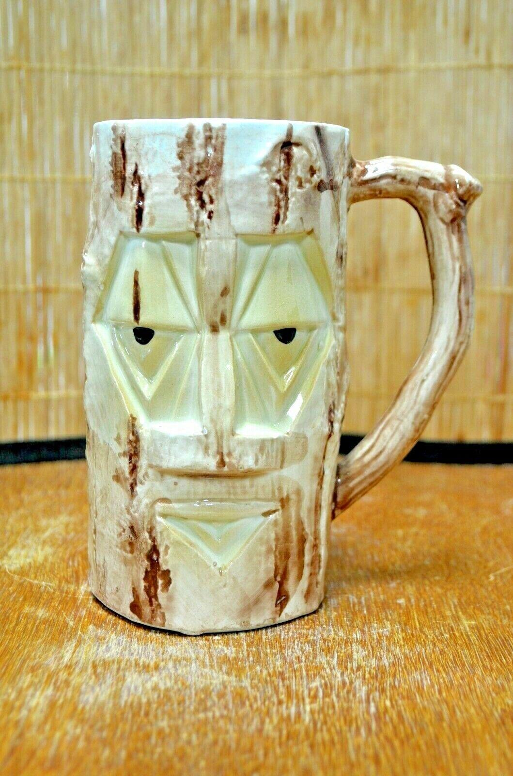 Vintage Westwood Yellow Face Diamond Handled Tiki Log Mug Cup