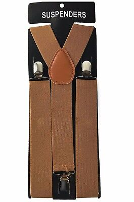 "1X Brown Mens Clip-on 1.5"" WIDE Suspenders Elastic Y-Shape Suspender"