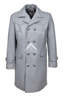 Men's 'WW2 GERMAN Grey ANILINE Cowhide Leather Marine Jacket Coat U-BOAT