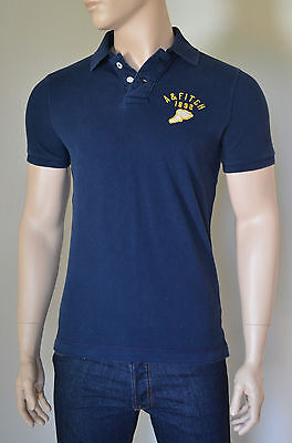 NEW Abercrombie & Fitch Round Mountain Polo Shirt Navy Blue S RRP...