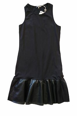 MISS GRANT Girls 12 14 Sleeveless Black Jersey Perforated Faux Leather Dress