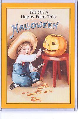 VINTAGE REPRODUCTION PUT ON A HAPPY FACE HALLOWEEN BOY PUMPKIN REPRO POSTCARD  (Reproduction Vintage Halloween Postcards)