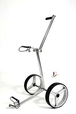 Push Golf Trolley 2-Rad  aus Edelstahl, silbern