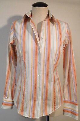 THOMAS PINK LONDON WOMENS PASTEL PIN STRIPE OXFORD SHIRT FRENCH CUFFS SZ 8 Thomas Pastel