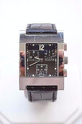 W248- GUCCI 7700 Series Black Leather Band Chronograph Date Swiss Men's Watch