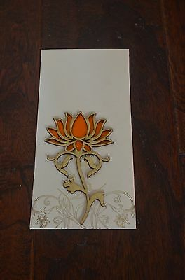 Cream And Gold Orange Lotus Money Holder Letter Envelopes 5 Pieces