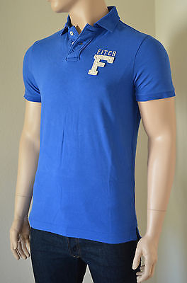NEW Abercrombie & Fitch Mount Colvin Polo Shirt Blue Cotton Pique S...