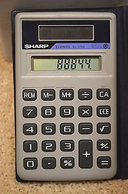 Vintage Sharp ELSIMATE EL-376A Solar Calculator with Cover