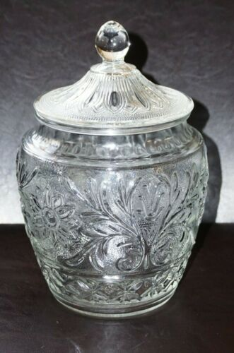 """Vintage Anchor Hocking Sandwich Glass 10 1/4"""" Cookie Jar Canister Exceptional !"""