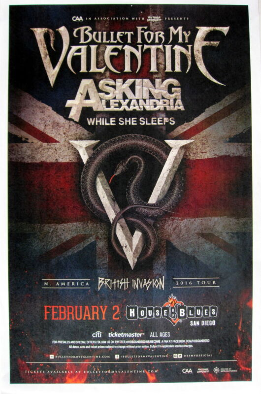 BULLET FOR MY VALENTINE / ASKING ALEXANDRIA SAN DIEGO CONCERT TOUR POSTER- Metal