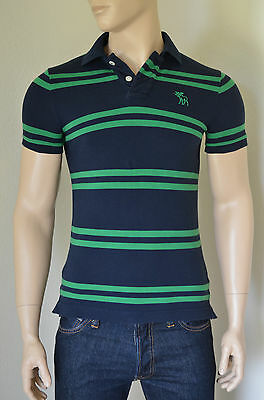 NEW Abercrombie & Fitch Baxter Mountain Polo Shirt Navy Green Stripe S...