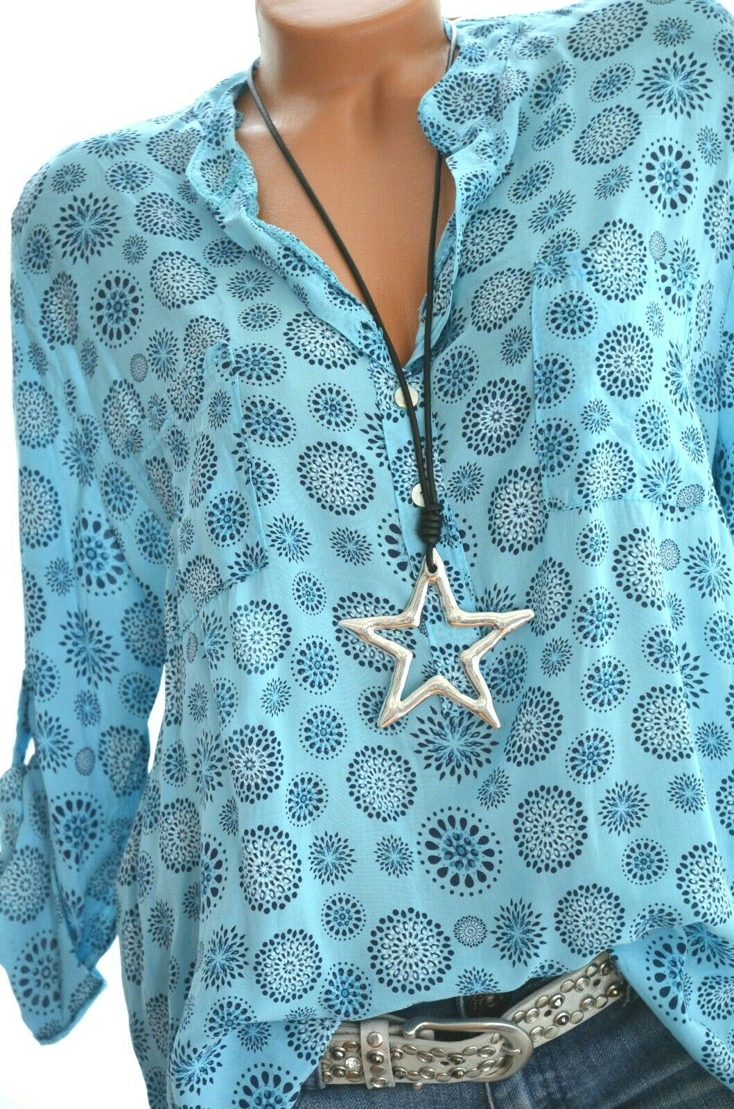 ITALY MODE  Leichte Bluse Damen Tunika Top Hemd Shirt Mandala Fischerhemd