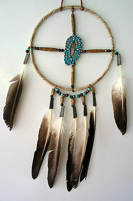 "NEW NATIVE AMERICAN NAVAJO MEDICINE WHEEL DREAM CATCHER 6""   5"