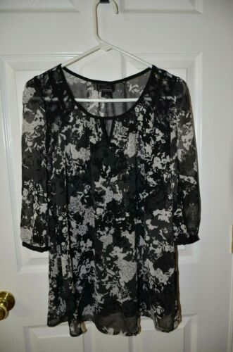 Oh Baby by Motherhood, Small, Black Multi Sheer Top with Attached Cami