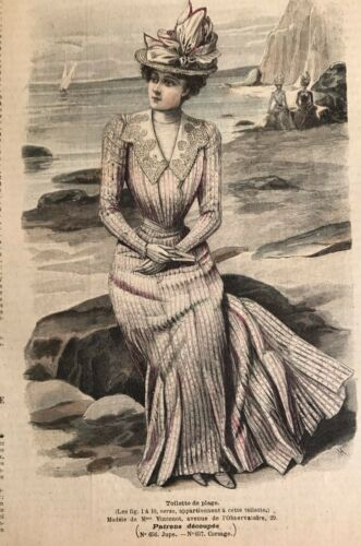 French MODE ILLUSTREE SEWING PATTERN June 10,1900 TOILETTE DE PLAGE , DOLL DRESS