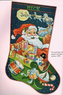 Up Up Away Traditional Santa & Reindeer Christmas Stocking Cross Stitch Chart