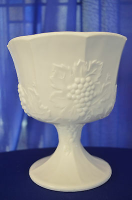 Large Vintage Milk Glass Grape Vein Footed Vase or Goblet Chalice Grape Milk Glass Vase