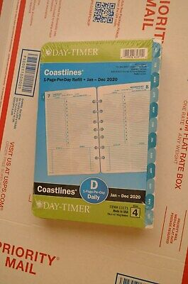 Day-timer 2020 Coastlines Daily Planner Refill 1 Pages Per Day Size 4