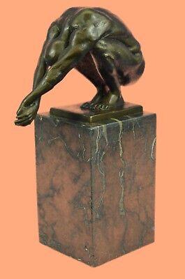 Hot Cast Bronze Nude Male Muscular Diver Swimmer Diving Sculpure Statue Figurine