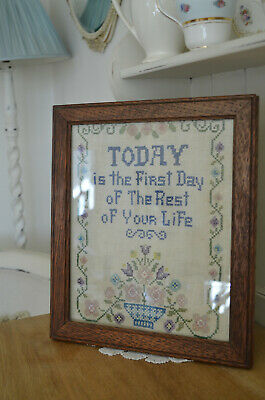Needlepoint Sampler 1940/50s Beautiful Quality Oak Frame Needlepoint SHABBY CHIC