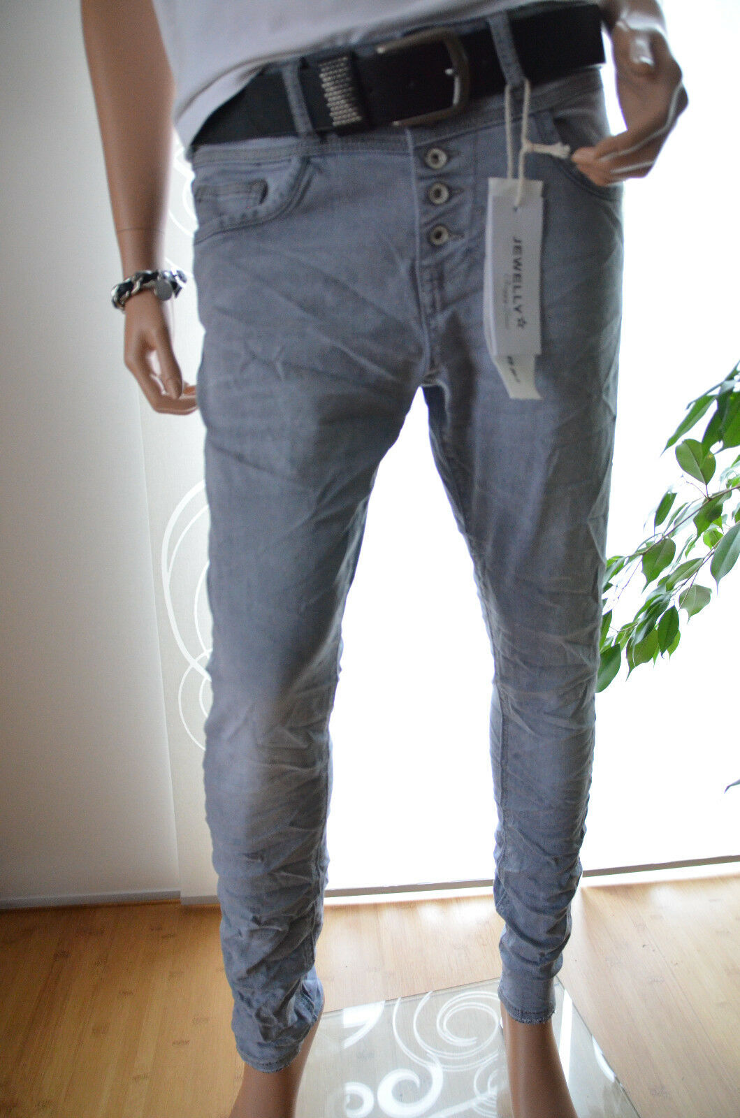 JEWELLY LEXXURY BOYFRIEND Damen Jeans Hose Blumen
