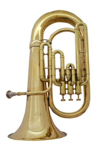 NEW ELEGANT DELUXE! BRASS FINISH! Bb FLAT 3 VALVE EUPHONIUM FREE CASE+MOUTHPIECE