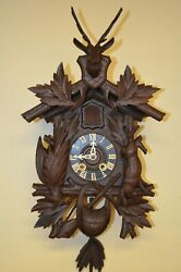 ANTIQUE GERMAN BLACK FOREST MINI HUNTER STYLE SPRING DRIVEN CUCKOO CLOCK 1900'S