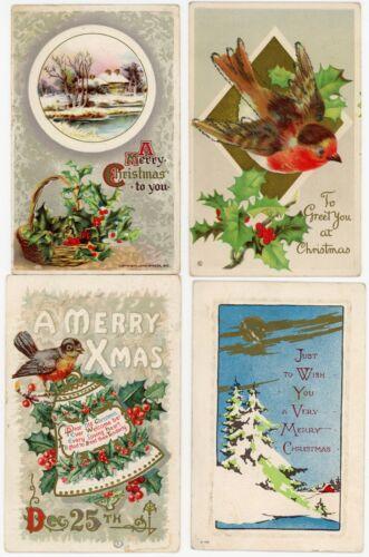 11 Vintage Mix Christmas Postcard Lot w/Embossed, German, See Photos