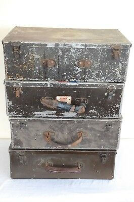 4 x Vintage/Retro Technicians metal tool box/work case - Medium size