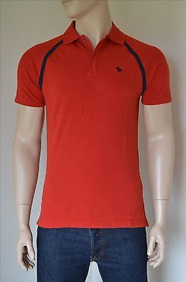 NEW Abercrombie & Fitch Vintage Sport Polo Shirt Red Moose M