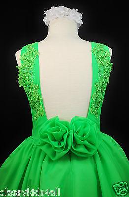 Children Girls National Pageant Chiffon Dress Lime Green Sz 3 4 5 6 7 8 10 12 14